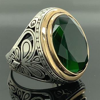 Srebrny pierścionek ze szmaragdem męski zielony kamień szmaragdowy pierścionek ręcznie robiony pierścionek z owalnym klejnotem pierścionek ze szmaragdem w stylu Vintage prezent Fo tanie i dobre opinie Mercan Silver 17gr 925 sterling TR (pochodzenie) Mężczyźni Drobne Brak Pierścionki Klasyczny