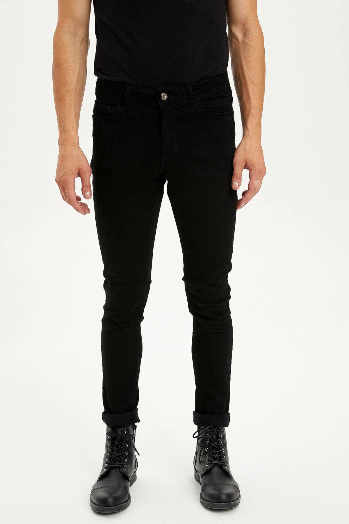 DeFacto Men Black Classic Style Elasticity Jeans Fashion Casual Stretch Slim Denim Pants Denim Trousers Male New -L6669AZ19AU