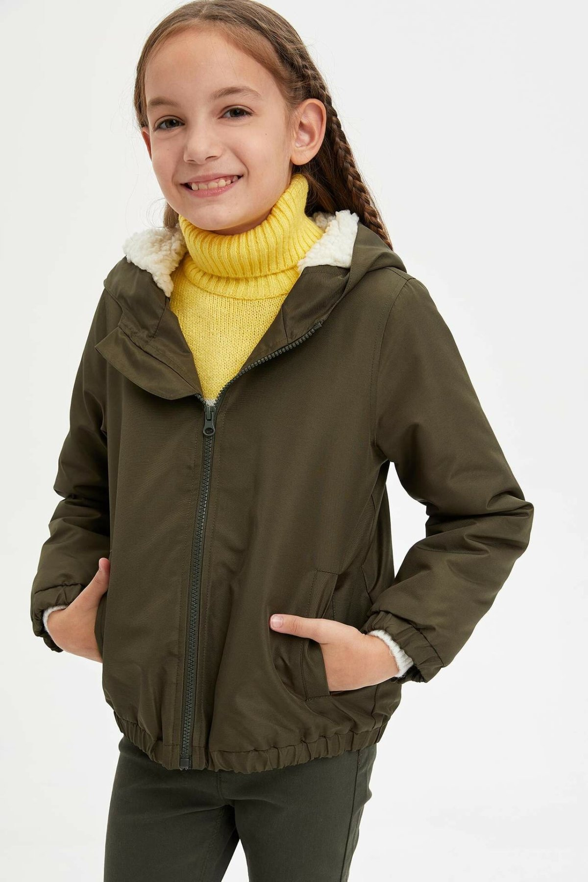 DeFacto Winter Fashion Girls Coats Kids Casual Hooded Zipper Wool Coats Girl Warm Short Jackets Comfort -M7435A619WN
