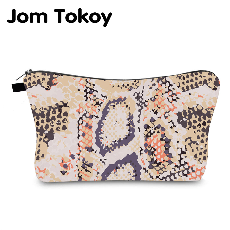Jom Tokoy Cosmetic Bag Printing Serpentine Personalised Makeup Bags Organizer Bag Women Beauty Bag HZB997