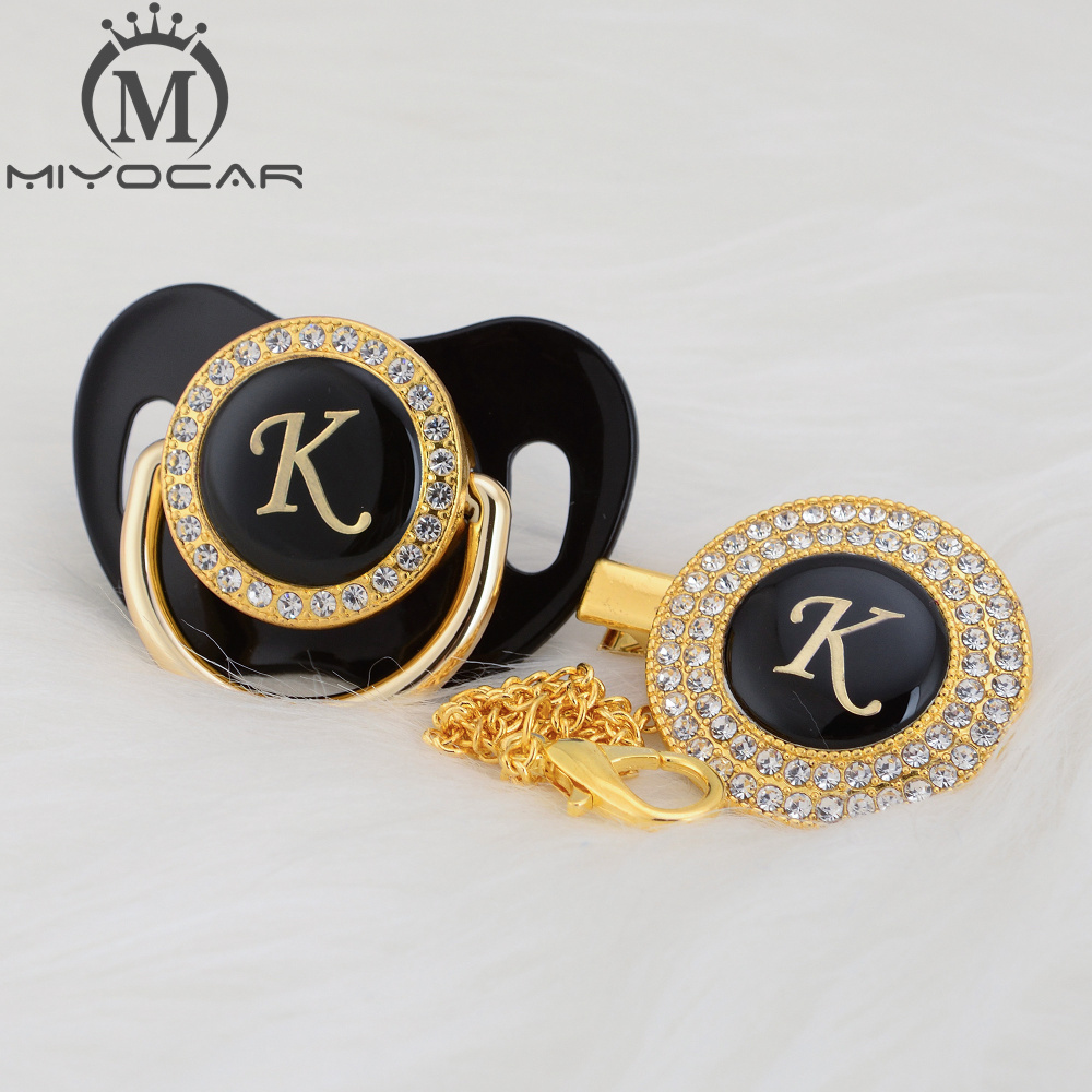 MIYOCAR Name Initials Letter K Beautiful Bling Pacifier And Pacifier Clip Set Unique BPA Free Dummy Bling Unique Design LK