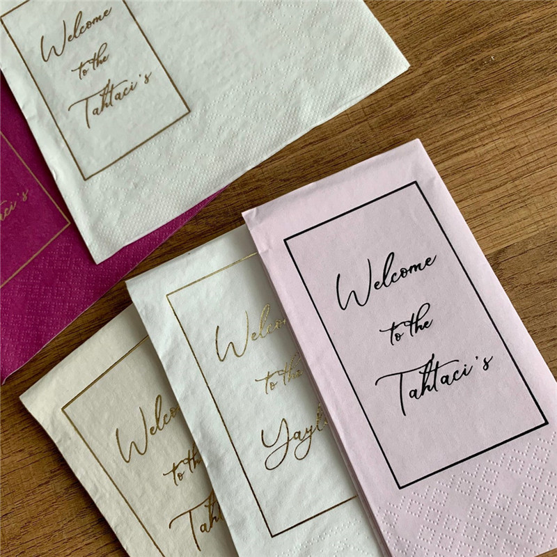 wedding : Custom Luncheon Family Napkins Lunch Personalisierte Servietten Bedruckte Servietten Hochzeit Personalized Napkins Wedding