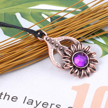 RJ New Game The Elder Scrolls V Morrowind Collars Amulet of Mara Purple Crystal Sunflower Necklaces Girls Women Jewelry image