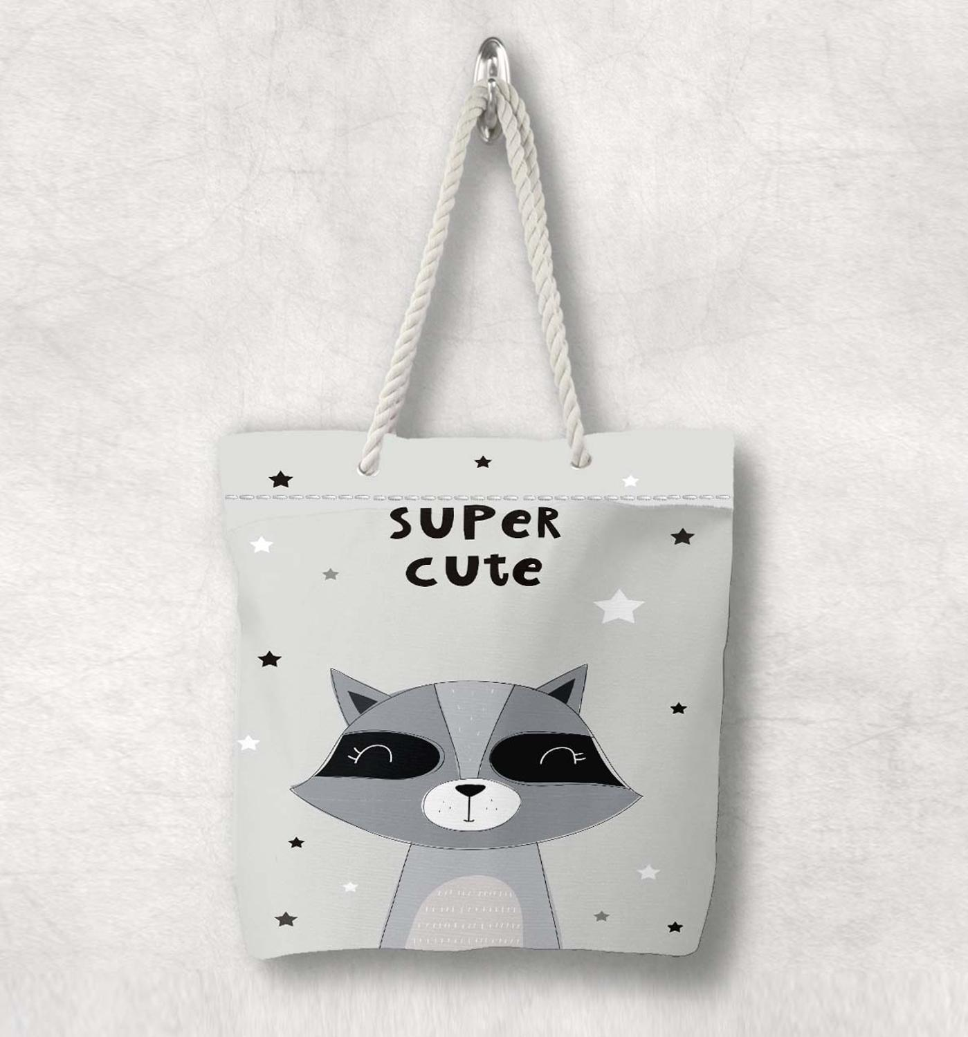Else Gray White Super Cute Raccoon Nordic Animal White Rope Handle Canvas Bag  Cartoon Print Zippered Tote Bag Shoulder Bag
