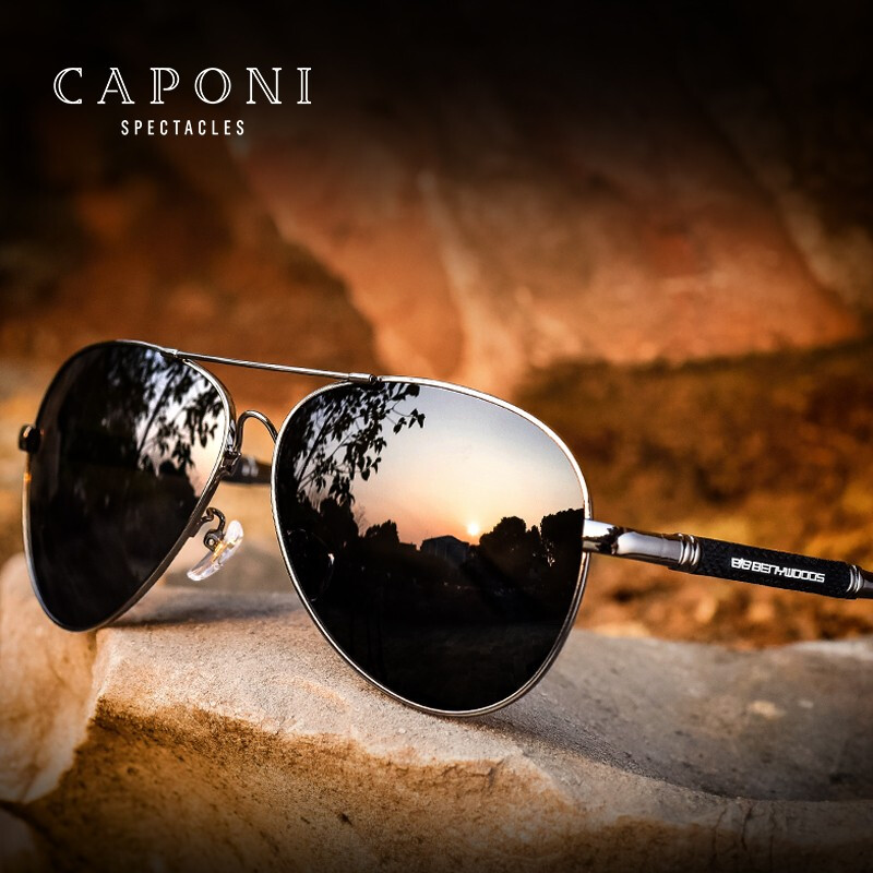 CAPONI Polarized Sun Glasses For Men Pilot Vintage Brand Designer Black Glasses Light Weigh Classic Shades For Male UV400 CP9812Mens Sunglasses   -