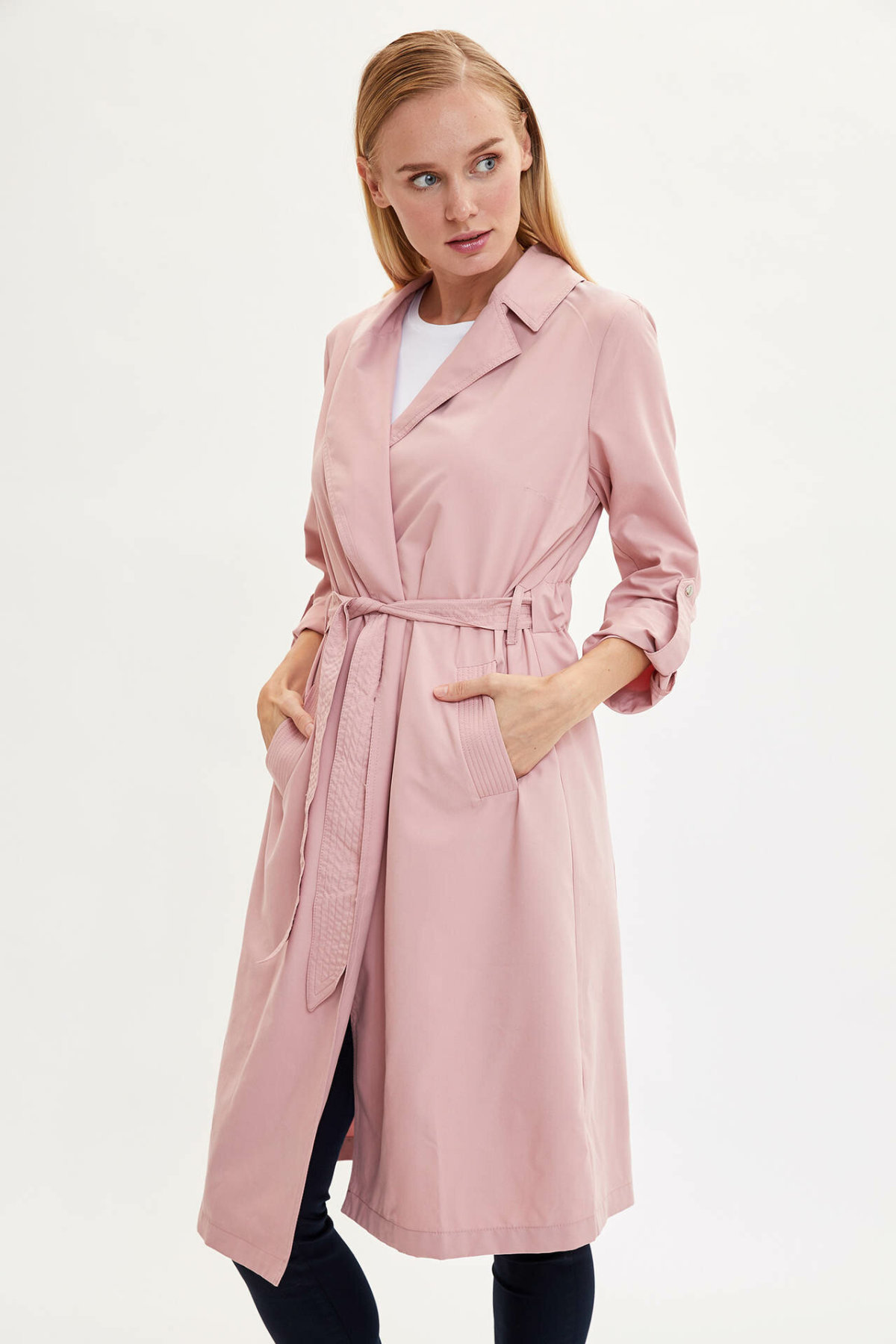 DeFacto Woman Autumn Long Trenchcoat Pink Red Color Women Windbreaker Female Classic Windcoats Tops-K8006AZ19AU