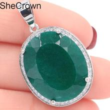 Deluxe Big Oval Gemstone 22x18mm Real Green Emerald White CZ Gift For Womans Silver Pendant 25x20mm