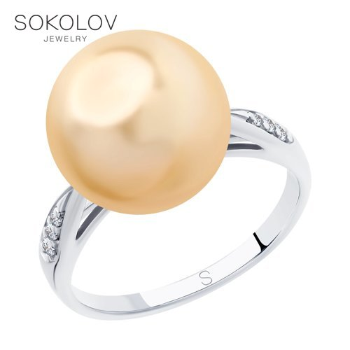 SOKOLOV Ring Of Silver With Pearls And Swarovski Crystals Fianitami Fashion Jewelry 925 Women's/men's, Male/female