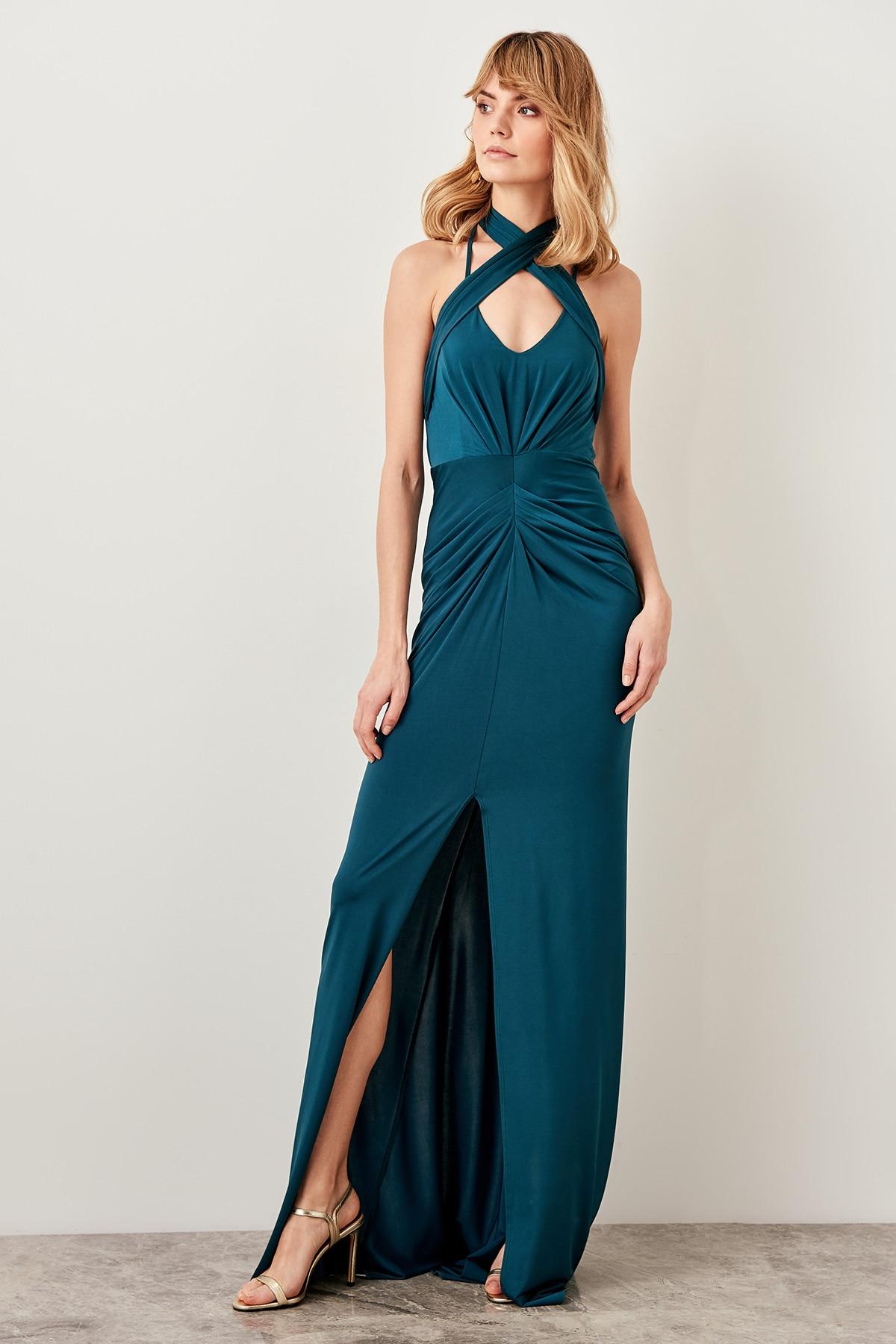 Trendyol Collar Detailed Drapeli Evening Dress TPRSS19BK0022