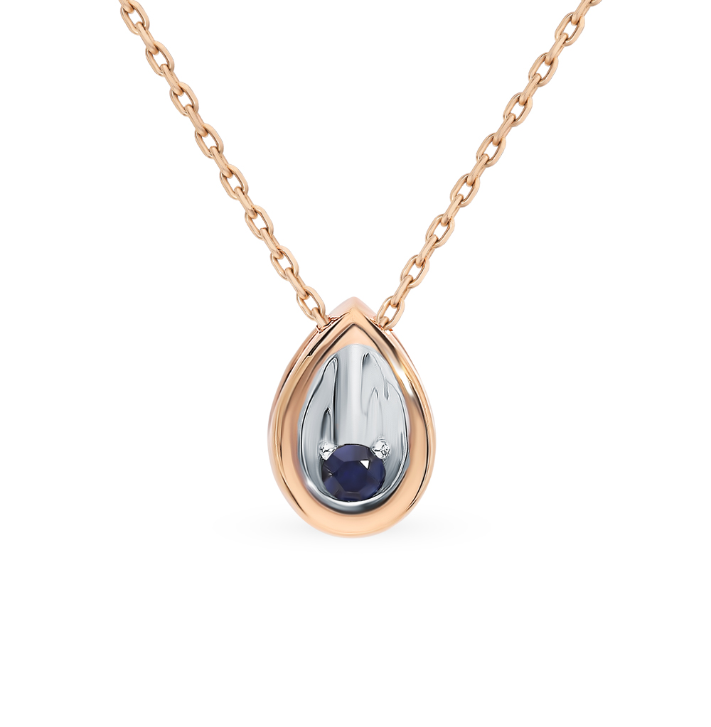 Gold Pendant With Sapphire Sunlight Sample 585