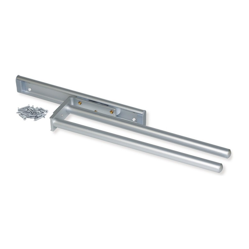 Towel Rack Extendable Emuca With 2 Arms Long 310 Mm Anodized Aluminum Matte
