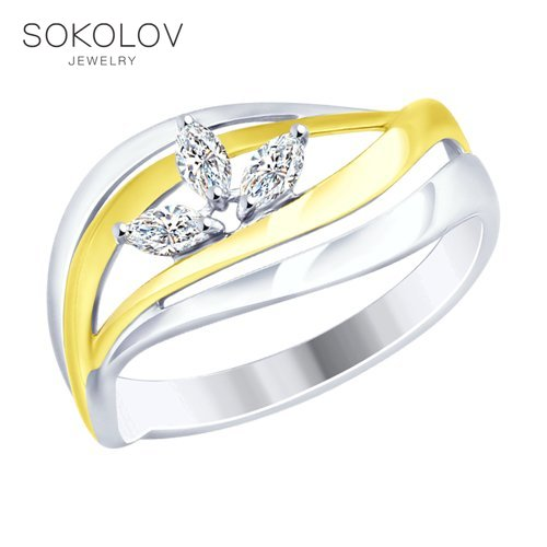 SOKOLOV Ring Gilded With Silver Fianitami Fashion Jewelry 925 Women's Male