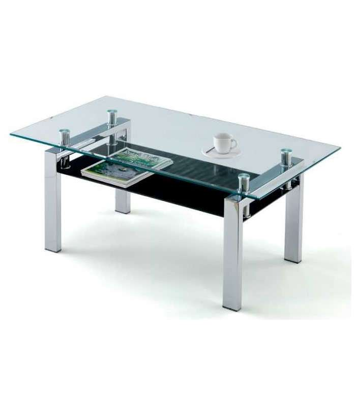 Center Table Sally Crystals Transparent & Black