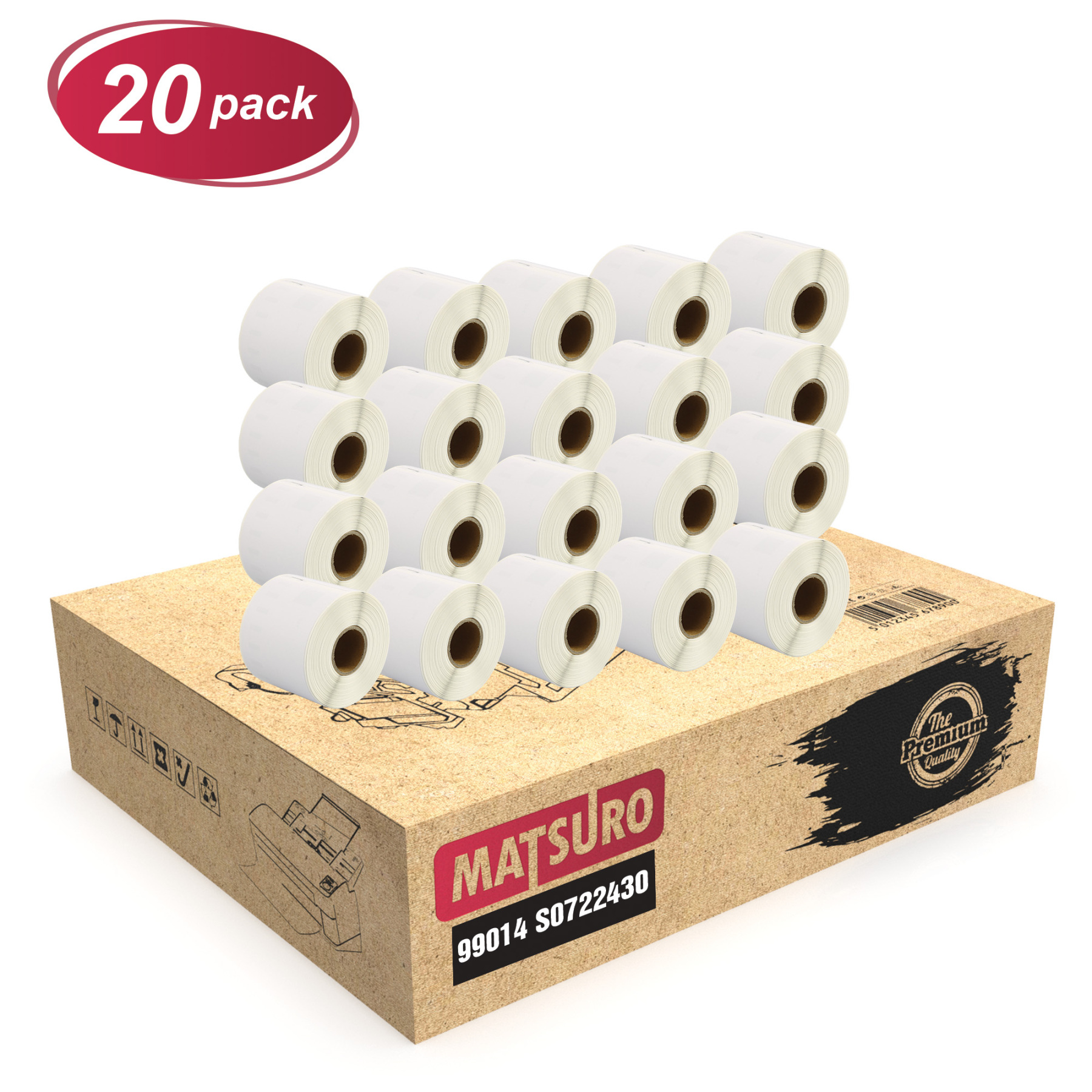 Original Matsuro   Compatible Rolls replacement for DYMO 99014 S0722430 ( 54mm x 101mm)