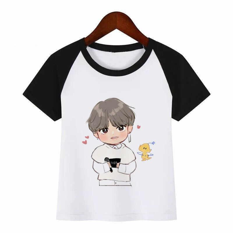 เด็ก Bangtan Boys พิมพ์เสื้อยืดเด็กเกาหลี KPOP เสื้อยืดเด็ก ulzzang Harajuku JIN SUGA J HOPE JIMIN V JUNGKOOK เสื้อยืด