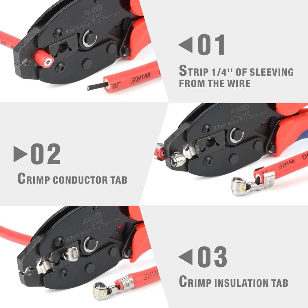 IWISS Ratchet Spark Plug Wire Crimper For Spark Plug Ignition Wire And Terminals