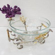 Cuenco decorativo de Metal para ensalada, vajilla de cocina con diseño de flores de color plateado, para presentación de comida