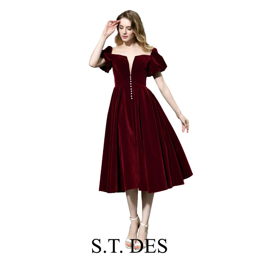 NEW 2020 St.Des A-line V-neck Russian Wine Velvet Puff Sleeve Designer Brilliant Elegant Mid-Calf Evening Dress Party Dress