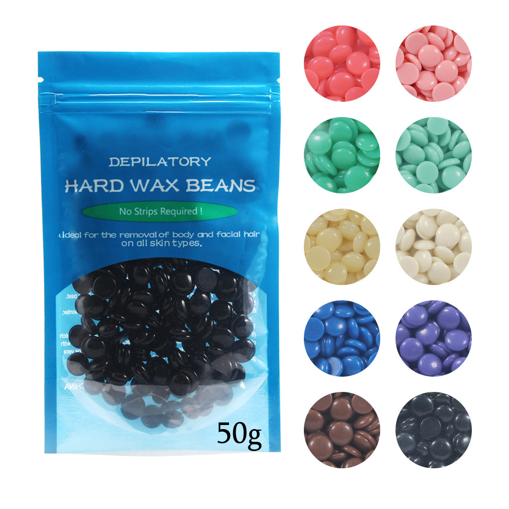 Top selling 10 flavors 50g/Bag Women Men Depilatory Hot Film Hard Wax Pellet Waxing Bikini No Strip Hair Removal Bean TSLM2