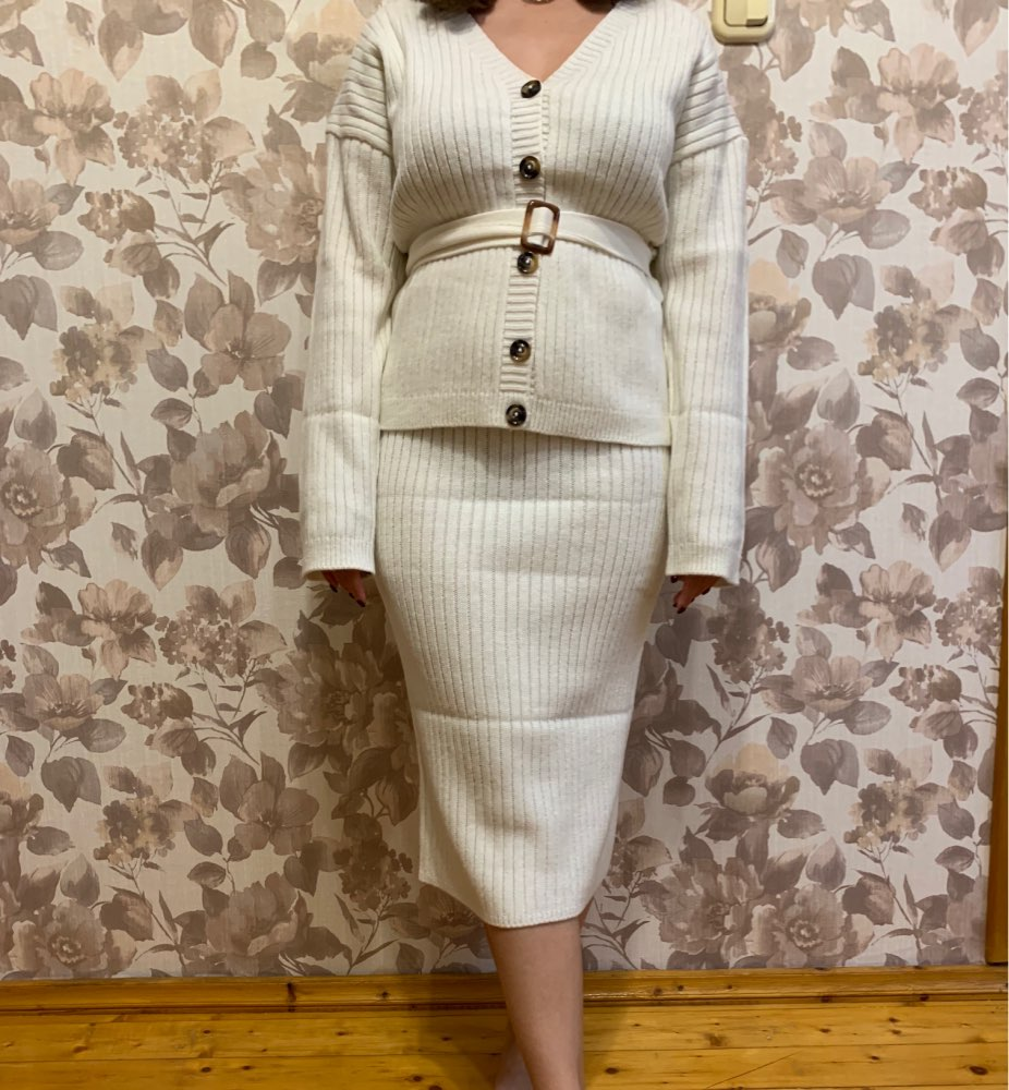 Two Piece Women Knitted Dress Set Elegant Autumn Winter Sweater Dress Suits Long Sleeve Button Sashes Pure Skirt Suit photo review