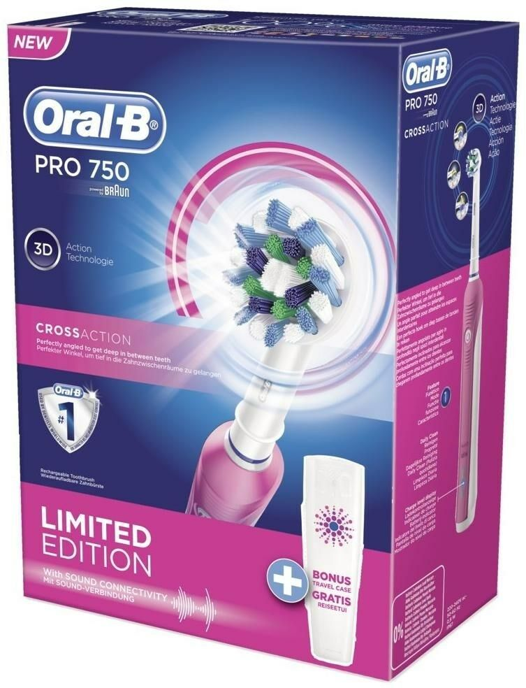 Oral-B Braun Pro 750 CrossAction Special Edition 3D Pink Toothbrush SALES!! image