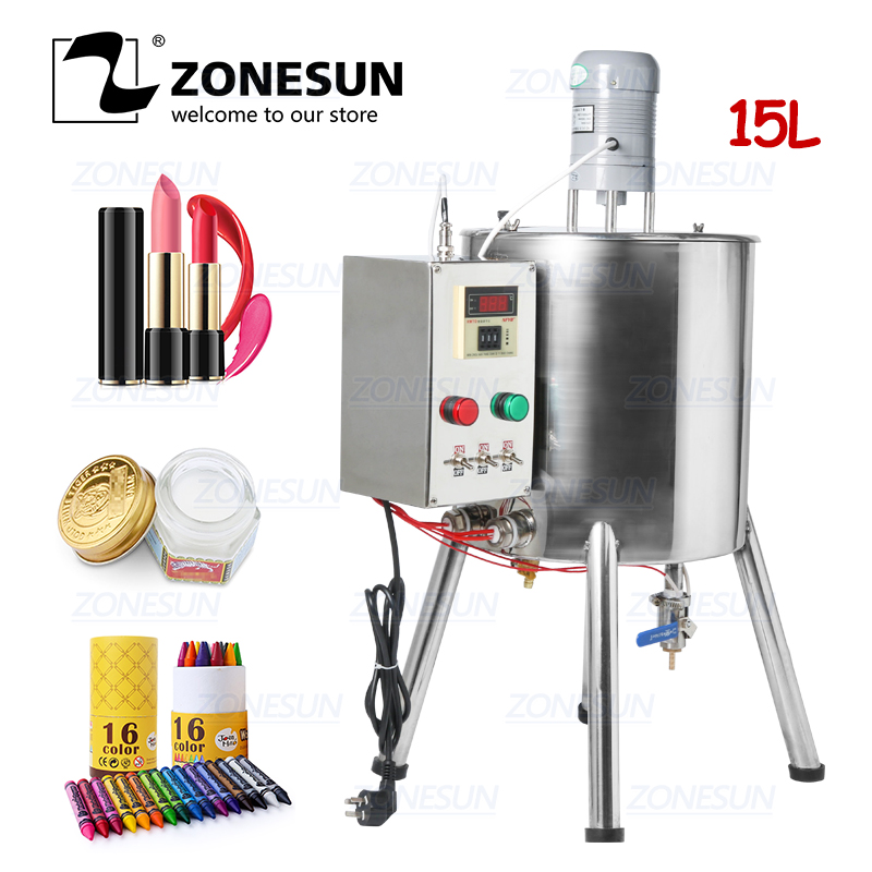 ZONESUN Lipstick Heating Stirring Filling Machine With Mixing Hopper Heater Tank Hot For Chocolates Crayon Handmade Soap Fillier