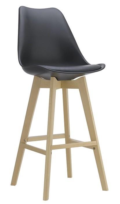 Stool TOWER, Wood, Black, Black Cushion