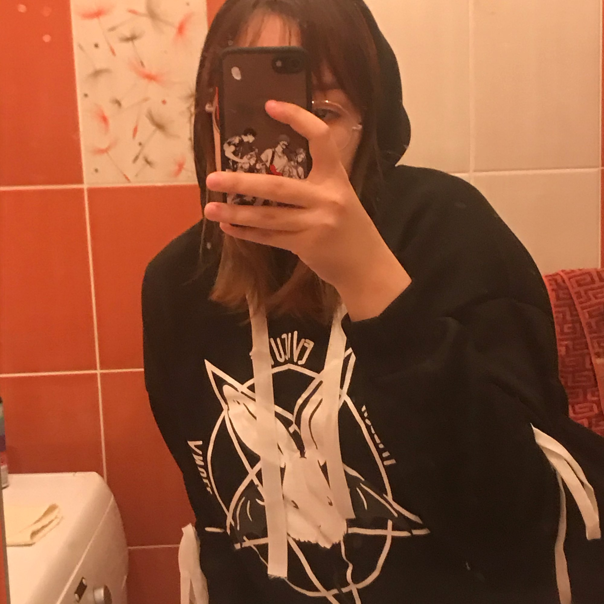 Hoodie with Pentagram and Rabbit print photo review