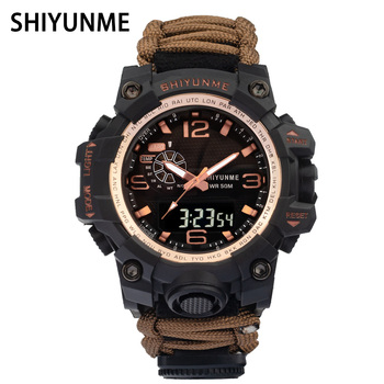 SHIYUNME Mens Lifeline Strap Outdoor Sports Electronic Watch Compass Thermometer Multifunctional Plastic Watches часы мужские