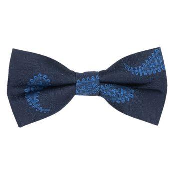 Men's bow tie (cotton, dark blue, texture) 52559