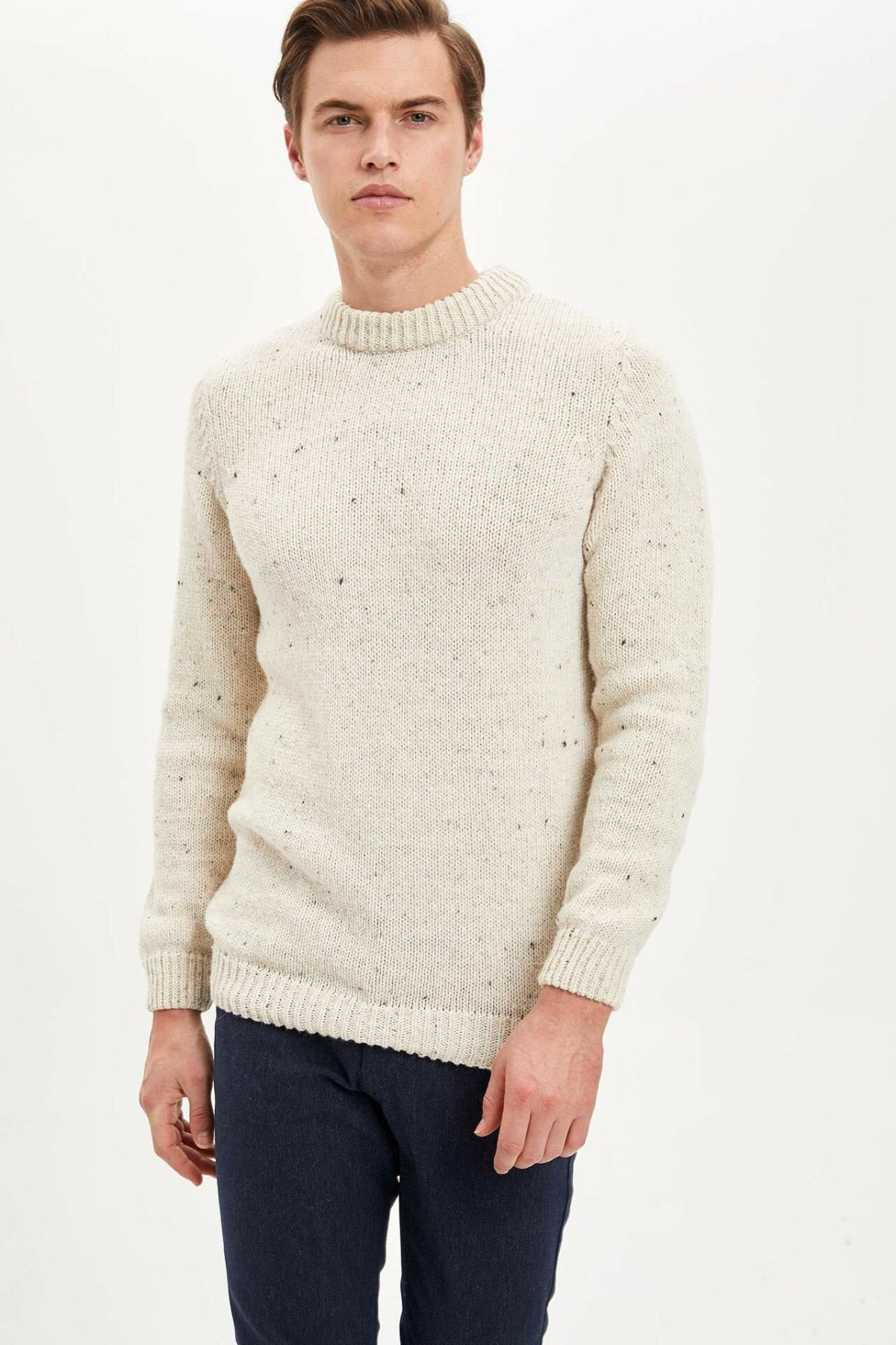 DeFacto Autumn Men O-neck Sweatshirt Male Fashion Pure Color Long Sleeve Tops Men's Casual Comfort Pullover - M0201AZ19WN