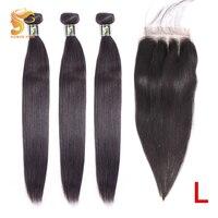 AOSUN волосы бразильские волосы плетение пучки прямые волосы пучки с закрытием 100% человеческие волосы для наращивания Remy волосы натуральный ...