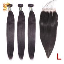 AOSUN شعر ضفيرة شعر برازيلي حزم حزم من شعر مفرود مع إغلاق 100% شعر مستعار بشري شعر ريمي اللون الطبيعي