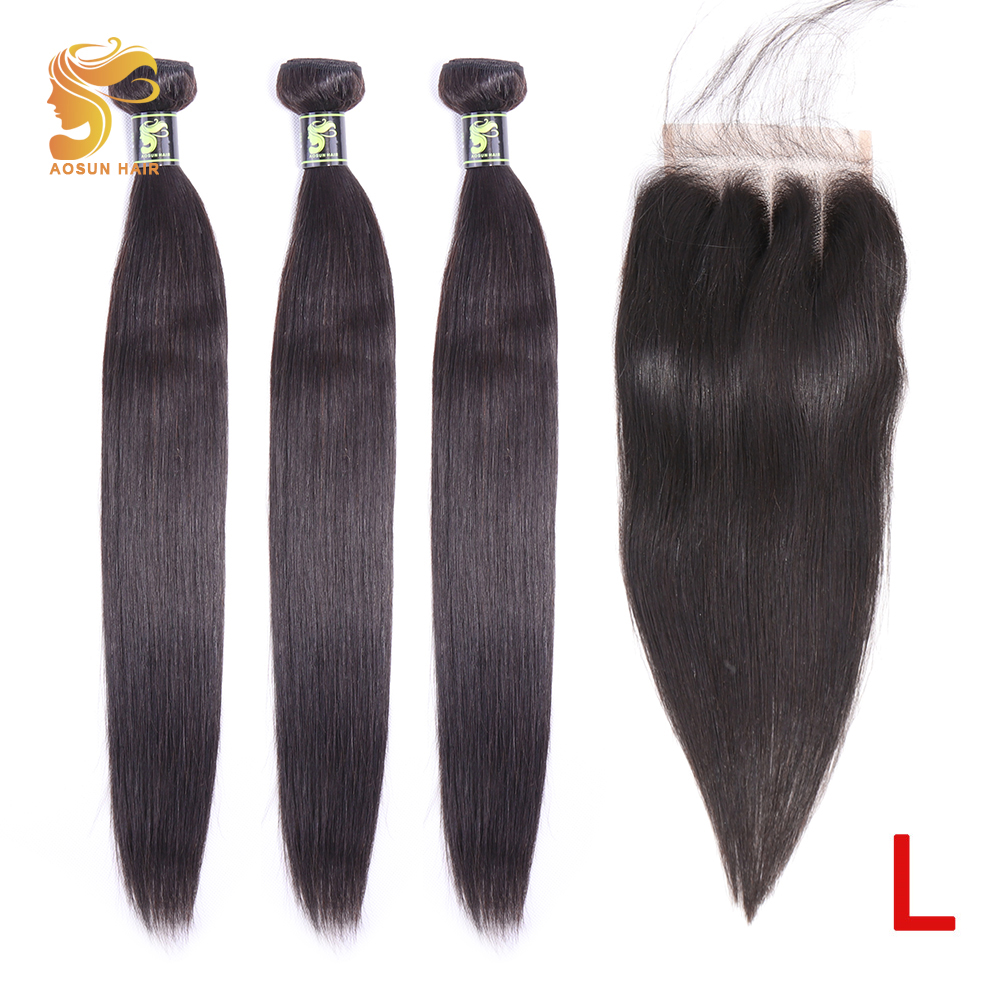 AOSUN HAIR Brazilian Hair Weave Bundles Straight Hair Bundles With Closure 100% Human Hair Extensions Remy Hair Natural Color