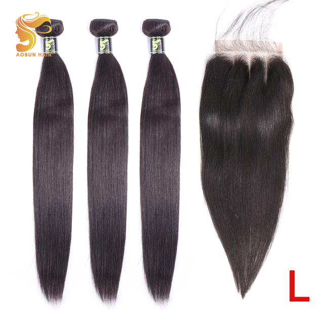 AOSUN HAIR Brazilian Hair Weave Bundles Straight Hair Bundles With Closure 100% Human Hair Extensions Remy Hair Natural Color