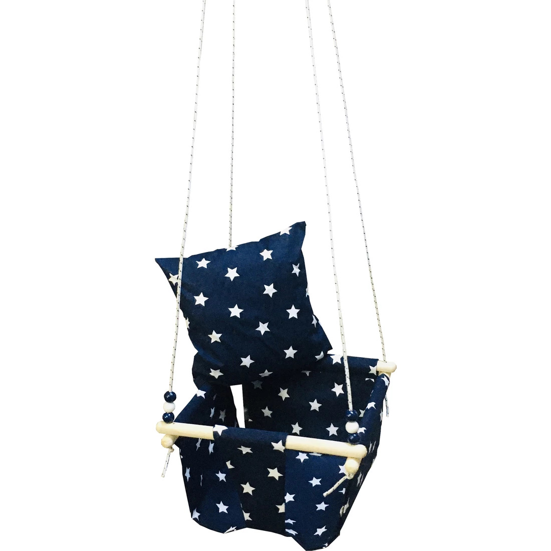 Baby Ceiling Swing Padded Chair Hanging Wood Canvas Child Toy Indoor Swinging Small Basket Colorful Rocking Hammock Safe Chair