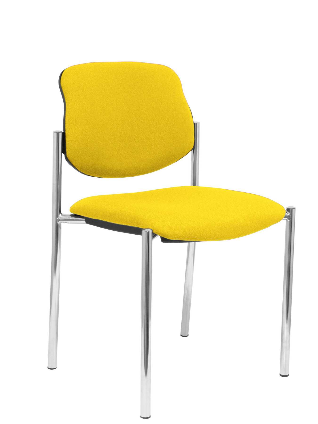 Confident Chair 4-leg And Estructrua Chrome Seat And Back Upholstered In Fabric BALI Yellow PIQUERAS And