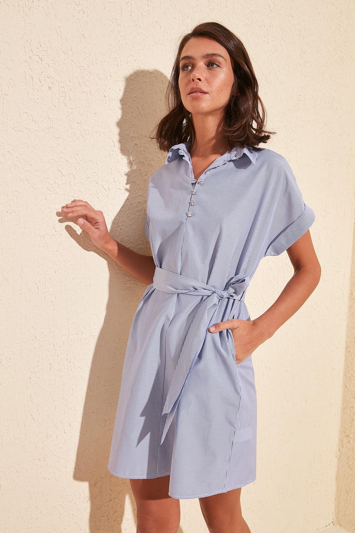 Trendyol Belted Striped Dress TWOSS20EL1761
