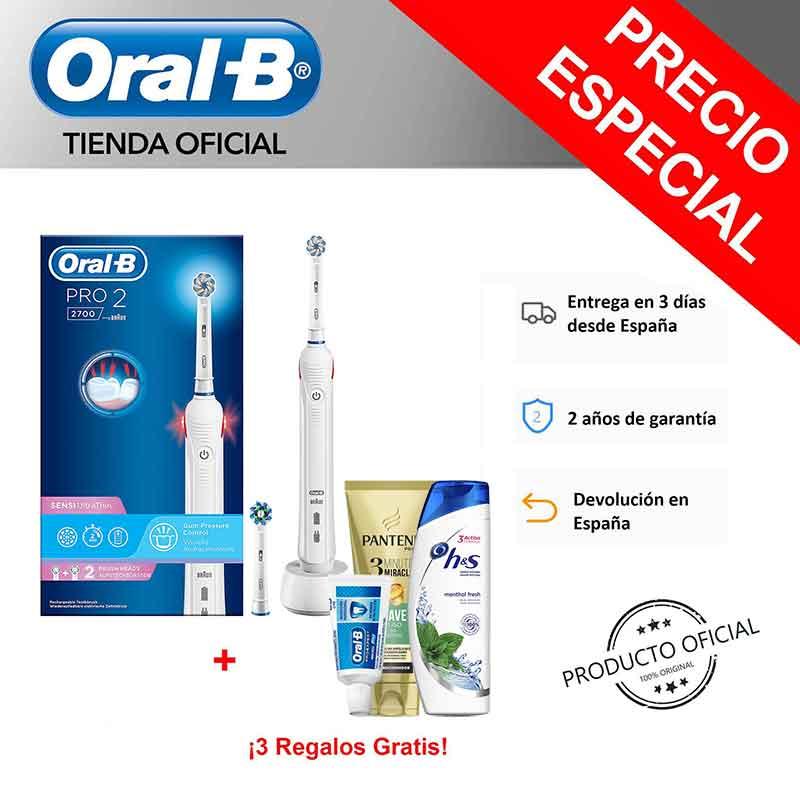Oral B Pro 2 2700 Sensi tecnología Braun Cepillo de dientes eléctrico + Champú H&S Menthol + Champú Pantene + Pasta de dientes