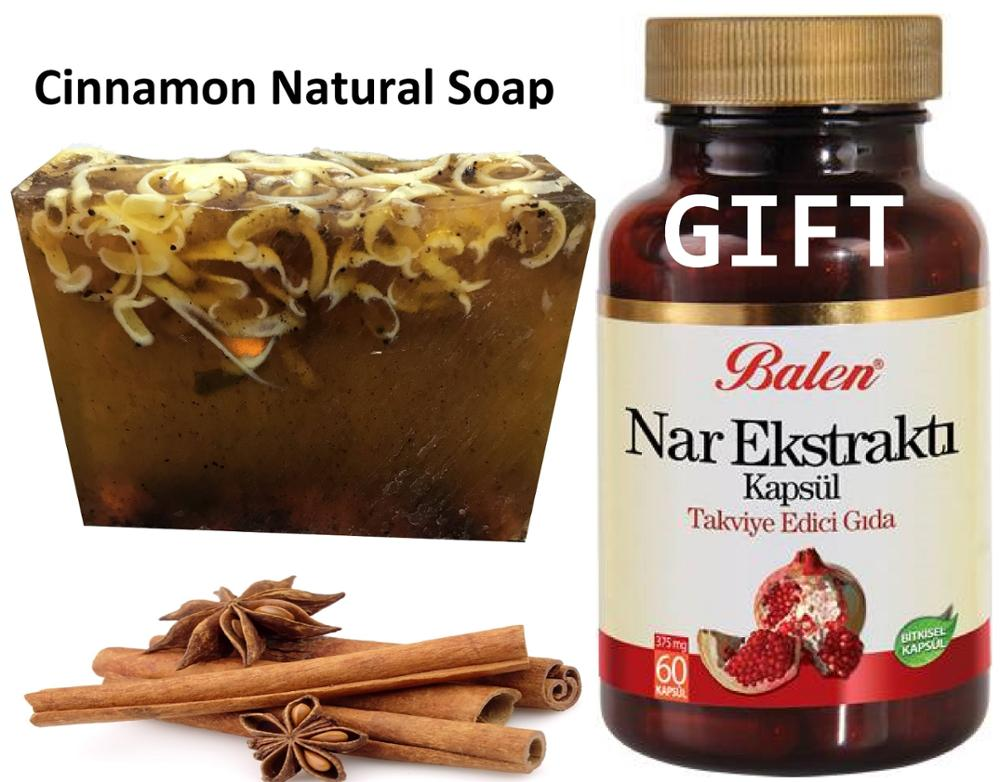 Anti Acne Cinnamon Natural Handmade Soaps 100 Gr+Gift Food SUPLEMENT Pomegranate Fruit Extract 60 Capsules Gorgeous Functions