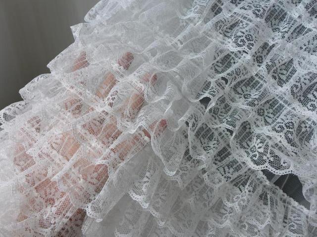 1/&12 white ruffled lace fabric trim mint green satin beading 12 yards