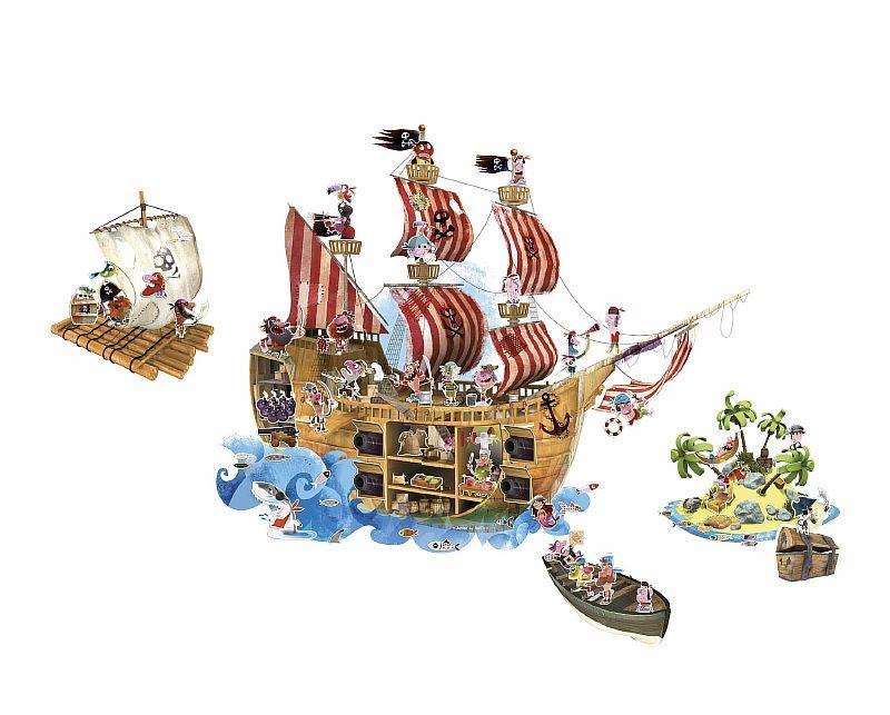 Магнитные стикер на стену Пираты (1 большой стикер, 70 магнитов)