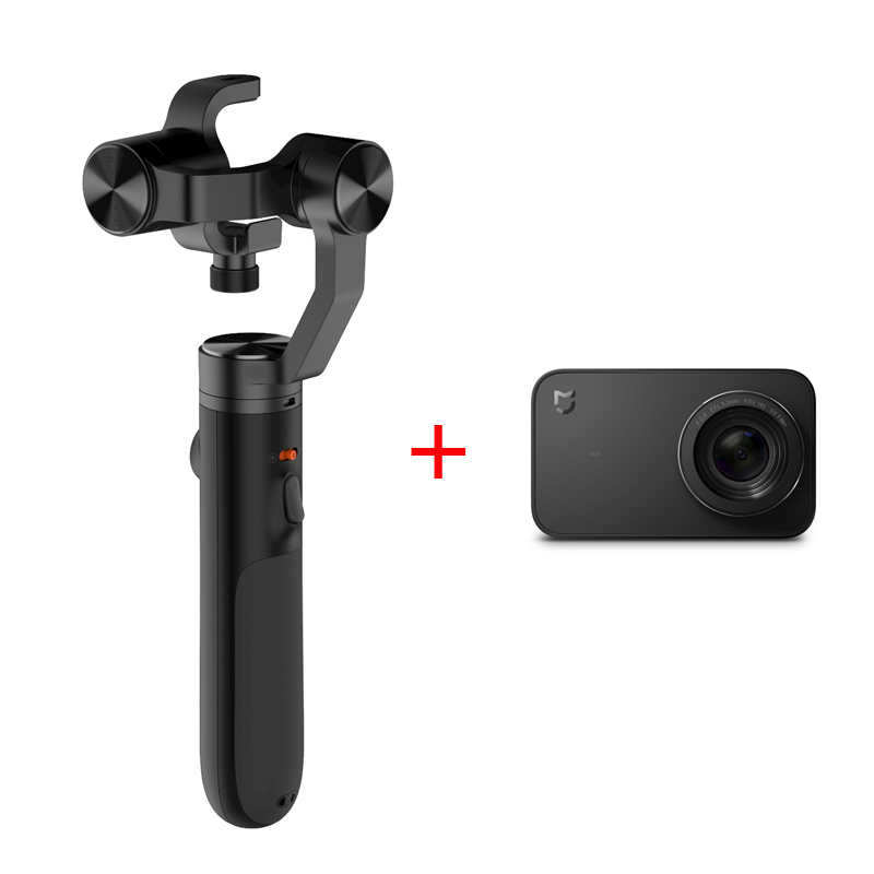 Mi 4K 30fps Action Camera+Handheld Gimbal Original Mijia 3axis Brushless Gimbal Stabilizer Handheld Gimbals Sports Camera
