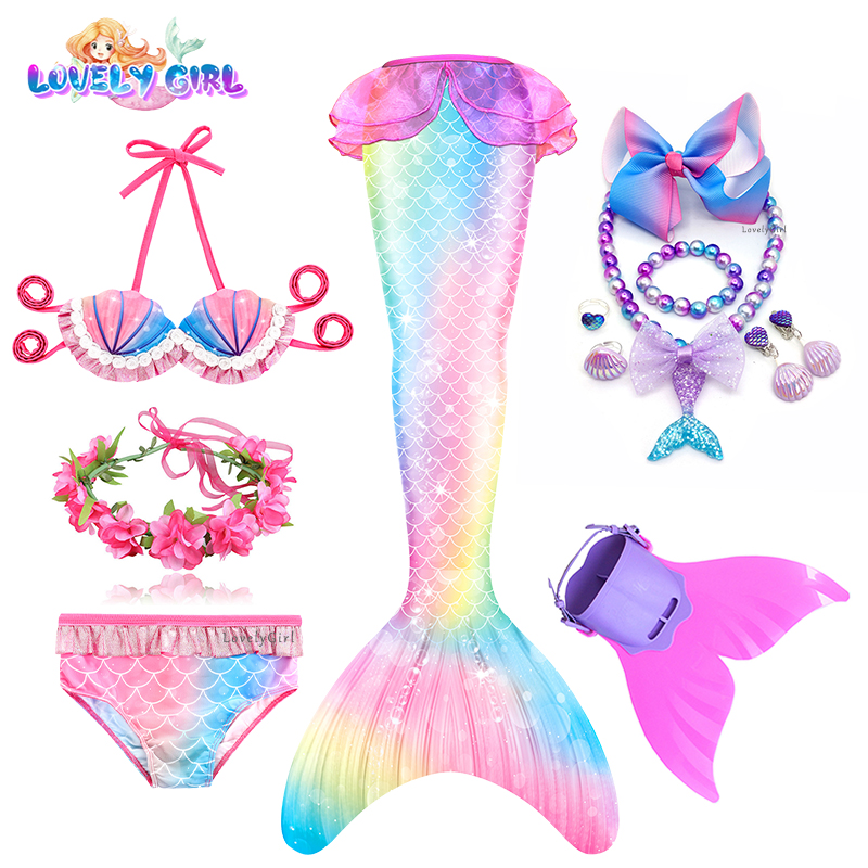 Cosplay Dress Swimsuit Mermaid-Costume Monofin Lovelygirl Kids