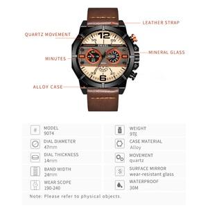 Image 4 - SMAEL Sport Watch Men Waterproof 2019 Top Brand Quartz Men Watch Leather Strap Brown Military Army Wristwatch Male Clock 9074