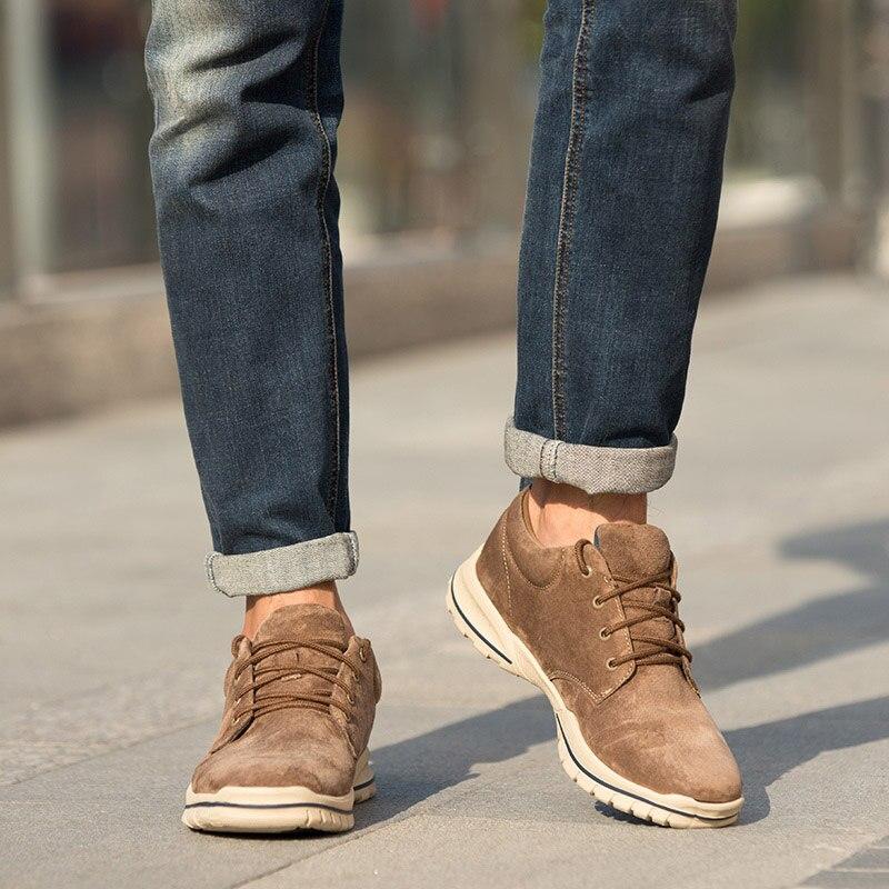 CAMEL chaussures pour hommes en cuir véritable daim mode baskets rétro Jogging chaussures hommes confortable Anti fourrure amortisseur semelle extérieure-in Chaussures décontractées homme from Chaussures    2
