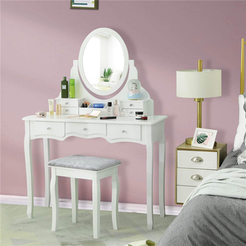 Dressing Table Set with 7 Drawers and 1 Movable Storage Box Wood Makeup Vanity Table Stool with 360° Rotating Oval Mirror White 1