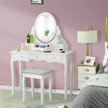 Dressing Table Set with 7 Drawers and 1 Movable Storage Box Wood Makeup Vanity Table Stool with 360° Rotating Oval Mirror White