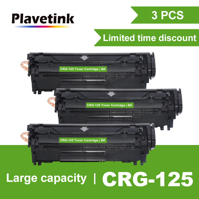 Plavetink 3PCS CRG 125 Refillable Toner Cartridge for <font><b>Canon</b></font> CRG125 <font><b>LBP6000</b></font> LBP6018WL LBP6030w MF3010 Laser Printers Black image