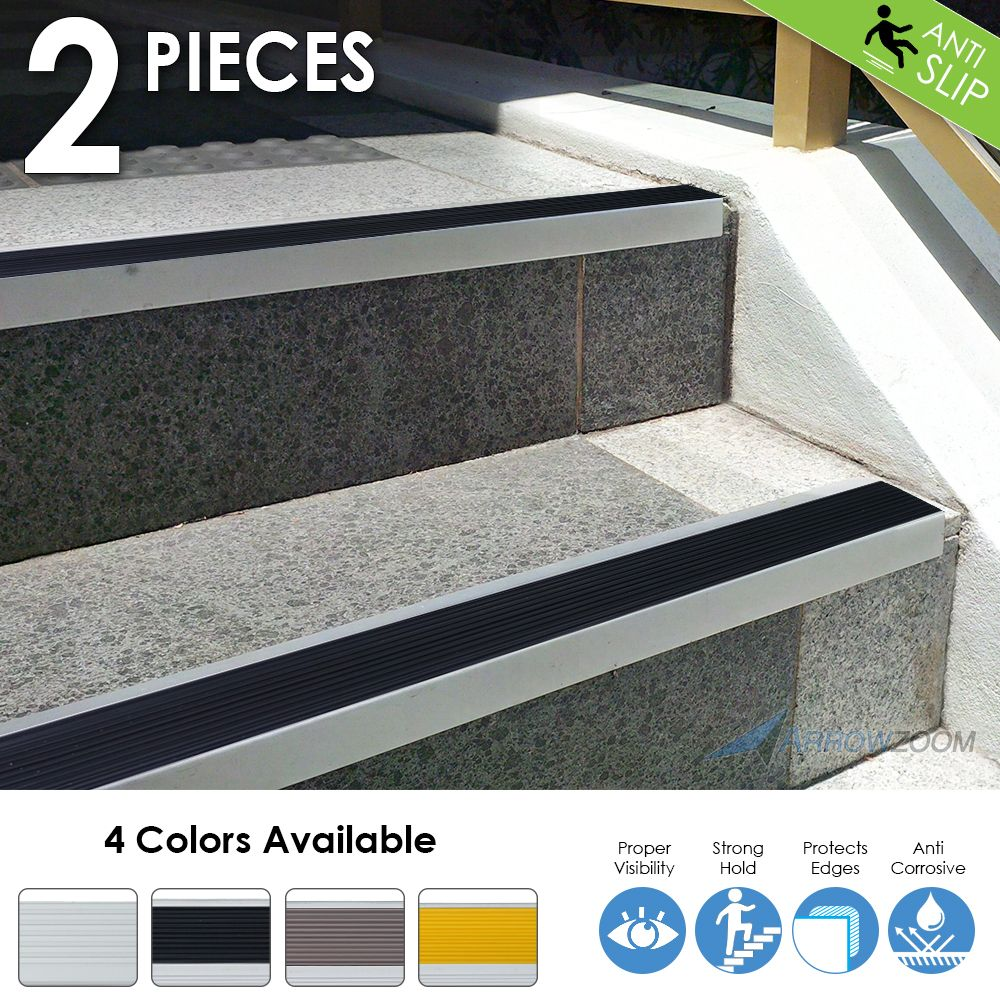 Arrowzoom Anti-Slip Strips Anodized Aluminum Stair Nosing Rubber Nose Stair Treads KK1180